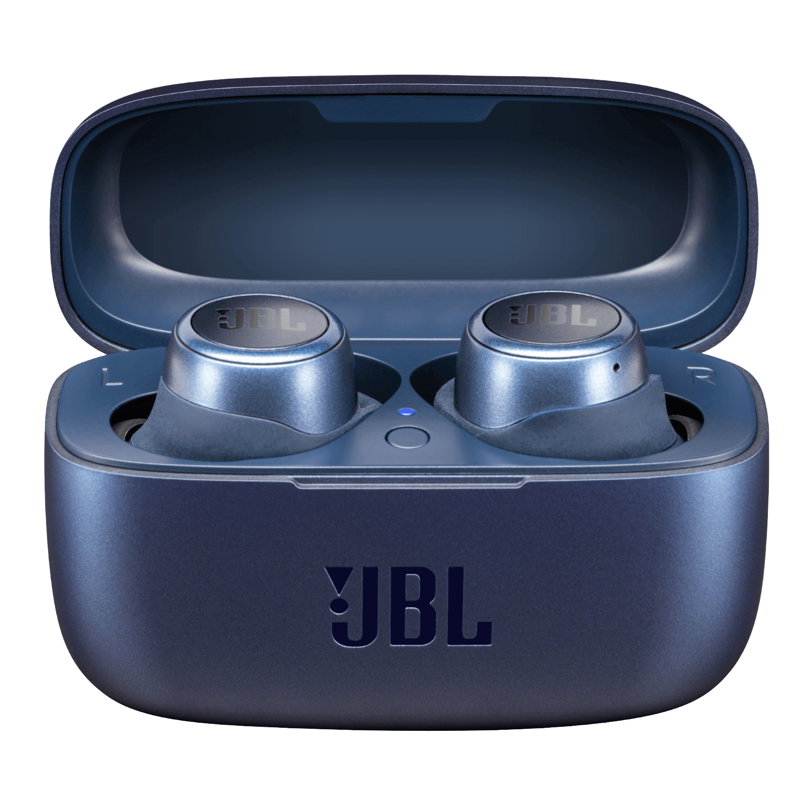 JBL LIVE300TWS ProductImage %20Blue CasewithProduct